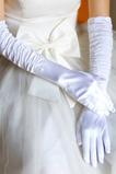 Guanti di nozze spessa in filo di taffettà calda bianca