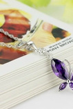Collana d'argento insetto in diamante intarsiato viola di moda