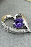 Collana violetta d'argento dei monili del diamante intarsiati a forma di cuore viola