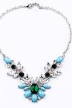 Lega di nozze intarsiato gemma fiori di cristallo collana & ciondolo