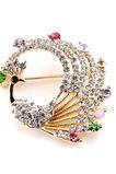 Diamante intarsiato colorato lega spilla in pavone