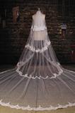 Velo di nozze multi layered cerimoniale merletto freddo pizzo lungo tessuto