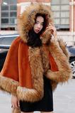 Cappotto con cappuccio in pelliccia di volpe scialle simile a scialle