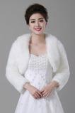 Spessa giacca da sposa lunga bianco caldo scialle