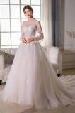 Vestito da sposa A-line Maniche lunghe Maniche illusione Formale