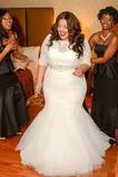 Vestito da sposa Tulle Maniche lunghe 3/4 Perline Chiusura lampo