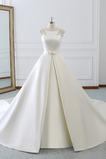 Abito da nozze Bow accentati Vita naturale A-line Sala Lunghezza piano