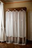 Elegante giacca lunga scialle sposa in tulle perla 200CM