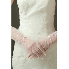 I guanti sexy di cerimonia nuziale sexy traslucidi hanno barrato il dito lungo