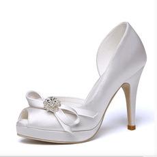 Scarpe da sposa open toe plateau impermeabile in raso tacco alto da sposa tacco alto da sposa
