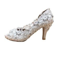 Scarpe da sposa in pizzo satinato con scarpe da sposa a spillo con strass scarpe da sposa fatte a mano