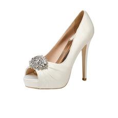 12CM Scarpe da sposa con strass tacco alto super scarpe da festa in raso
