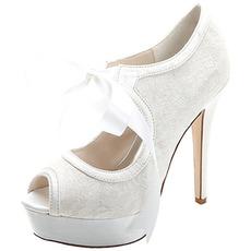 Scarpe da donna eleganti con tacco alto e plateau impermeabili con cinturino in raso, scarpe da banchetto, scarpe da sposa