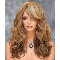 Perruque Adatto a donne Long Curly Inclinato bangs Fluffy Long Curly