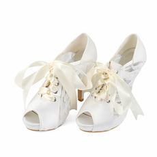 Sandali con tacco alto in pizzo a bocca di pesce sandali con tacco alto da sposa
