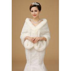 Bottone inverno corridoio super lungo spessore avorio Matrimonio scialle