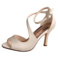 Punta aperta bocca di pesce tacchi alti scarpe da sposa da sposa sandali da ballo in raso