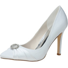 Nuove scarpe a punta di strass scarpe da sposa da donna in raso scarpe da damigella d'onore