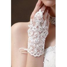 Guanti di nozze Decorazione in tessuto del merletto Pearl Summer Mitten Short
