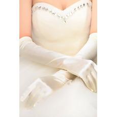Guanti da sposa Riepilogo Primavera a forma di cuore lungo della taffetà