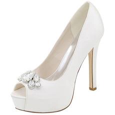 Scarpe da sera scarpe da sposa con strass scarpe da sposa sexy con tacco alto a bocca di pesce sandali a spillo