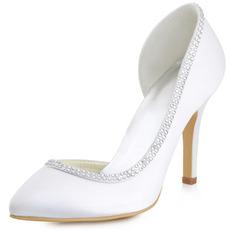 Scarpe da sposa con strass a punta in raso di seta e scarpe da sposa con tacco a spillo
