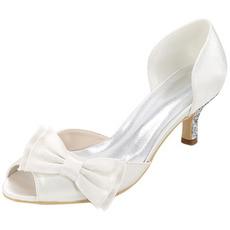 Scarpe da sposa plus size scarpe singole fiocco sandali da festa in raso