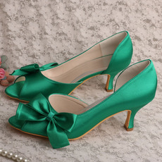 Scarpe da sposa con farfalla in raso, scarpe da damigella d'onore verdi con tacco a spillo con tacco a spillo
