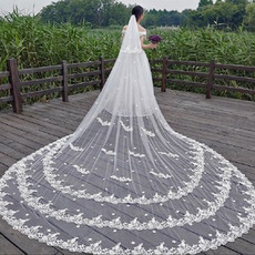 Velo di pizzo tridimensionale velo da sposa da sposa in pizzo bianco