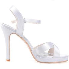 Sandali da donna personalizzati con cinturino sottile incrociato di fascia alta scarpe da sposa in raso scarpe da banchetto
