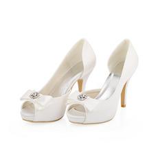 Scarpe da sposa in raso di seta con tacco alto da sposa bianche scarpe a spillo per donna