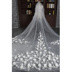 Sposa velo retrò matrimonio finale velo lungo velo di fiori