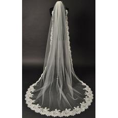 Tessuto merletto di nozze glamour con pettine Chapelle Long