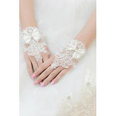 Guanti di nozze Breve senza spalline in tessuto di merletto di decorazione Mitten