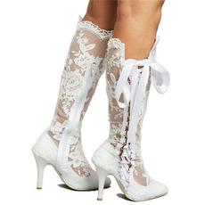 Stivali vuoti stivali alti in pizzo sexy sopra gli stivali da donna con tacco a spillo al ginocchio