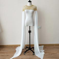 Scialle da sera mantello da sposa in chiffon mantello manica lunga