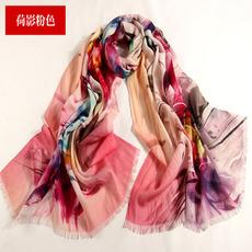 Lunghezza lunga lana di paesaggio Sciarpa fiore delle giovani donne