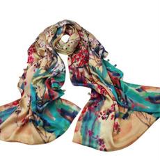Sciarpa reale seta inverno fiori lunghi pianura calda