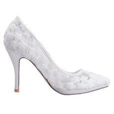 Scarpe da sposa bianche con tacco alto e fiori ricamati a bocca bassa con punta a bocca bassa