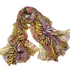 Stampa della nappa della seta reale della sciarpa di estate Purple Extra lungo