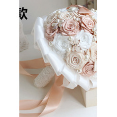 Pearl diamante mano mano sposa azienda fiori personalizzati nastro di nozze bouquet damigella d'onore