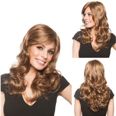 Perruque Adatto a donne Bande inclinate Long Curly Billow Kanekalon materiale
