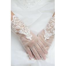 Decorazione pittoresca del merletto del tessuto dei guanti di cerimonia nuziale