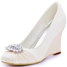 Scarpe da donna con tacco alto con zeppa da 10 cm e scarpe da sposa con tacco a barca