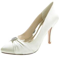 Scarpe da sposa a punta da donna scarpe in raso con strass tacco alto moda