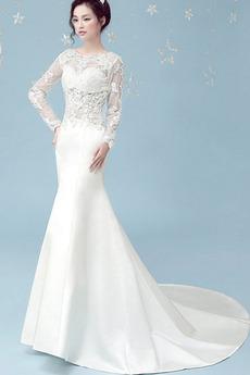 Vestito da nozze Primavera Lungo Raso Formale Sirena Vita naturale