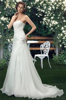 Vestito da nozze Senza spalline Pieghe Organza Vita naturale Sala