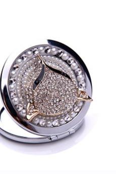 Grado superiore Doppio-affrontato Il fascino pieghevole Inlaid diamante Piccolo specchio