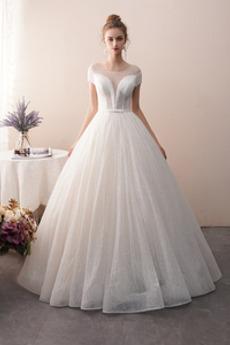 Vestito da sposa Allacciare Senza maniche Perline Vita naturale
