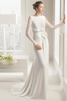 Vestito da sposa Maniche lunghe Autunno Semplici Bow accentati